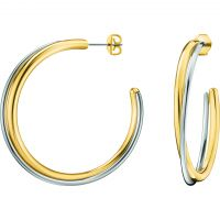 Ladies Calvin Klein Two-tone steel/gold plate Double Hoop Earrings KJ8XJE200100