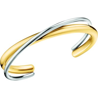 Calvin Klein Dames Double Thick Bangle Tweetonig/ verguld goud KJ8XJF20010M