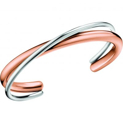 Calvin Klein Dames Double Thick Bangle Tweetonig staal en verguld Rose KJ8XPF20010M
