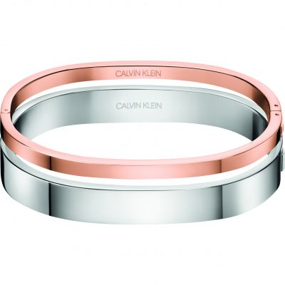 Calvin Klein Dames Hook Close Set Of 2 Bangles Tweetonig staal en verguld Rose KJ06PD20020M