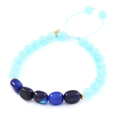 Ladies Lola Rose Gold Plated Polly Ice Blue Quartzite & Inky Blue Agate Bracelet 2O2087-405B92