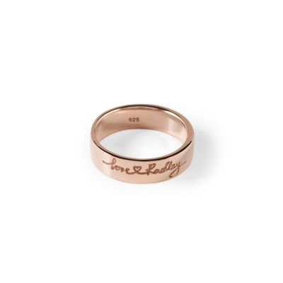 Ladies Radley Rose Gold Plated Sterling Silver Love Radley Ring Size P RYJ4002-L