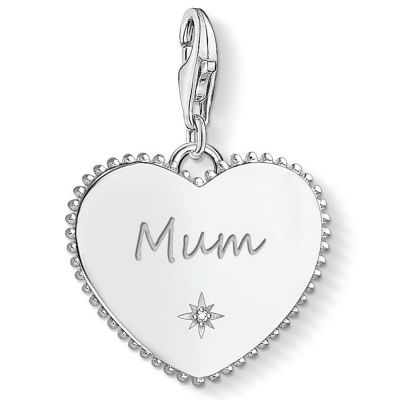 Ladies Thomas Sabo Sterling Silver Charm Club Mum Heart Charm 1686-051-21