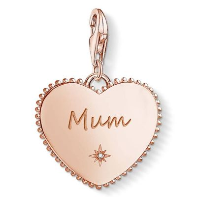 Ladies Thomas Sabo Rose Gold Plated Sterling Silver Charm Club Mum Heart Charm 1688-416-40