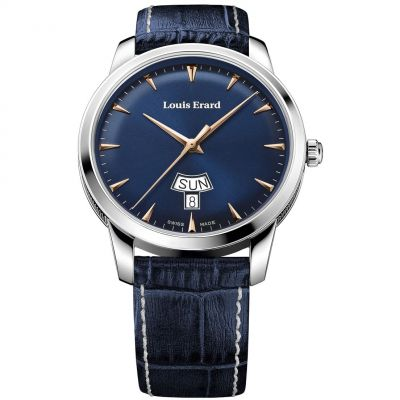 Louis Erard Heritage Day Date Herrenuhr in Blau 15920AA15.BEP102