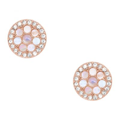 Fossil Dames Stud Earrings Verguld Rose Goud JF02906791