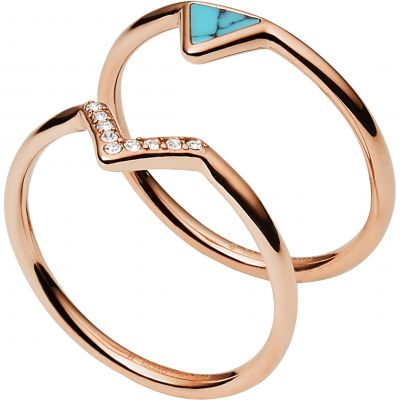 Damen Fossil Triangle Turquoise Kristall Fashion Ring Size P Edelstahl JF02645791508