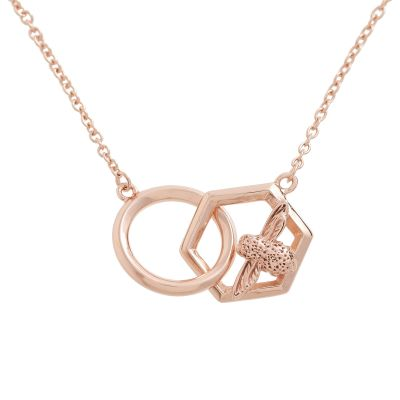 Ladies Olivia Burton Rose Gold Plated Honeycomb Bee Necklace OBJ16AMN21