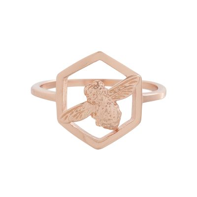 Ladies Olivia Burton Rose Gold Plated Honeycomb Bee Ring OBJ16AMR06