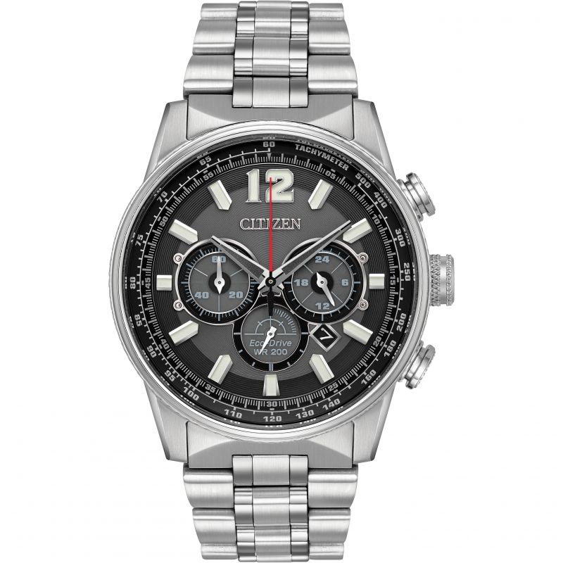 Mens Citizen Eco-drive Nighthawk Chronograph Stainless Steel Watch CA4370-52E