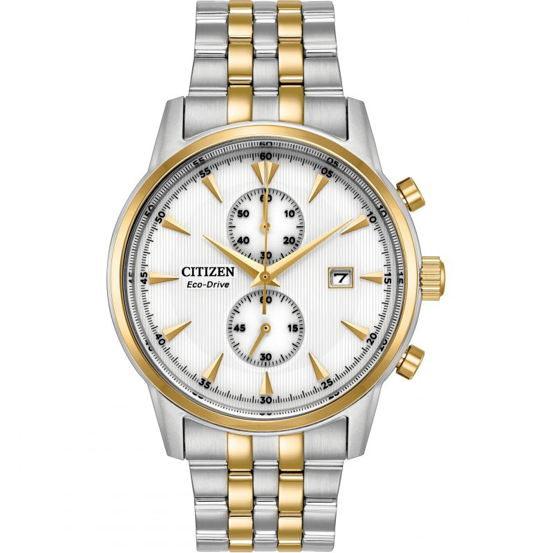 Mens Citizen Eco-drive Sport Chronograph Wr100 Chronograph Stainless Steel Watch CA7004-54A