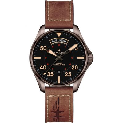 Hamilton Khaki Aviation Pilot Day/Date Herenhorloge Bruin H64605531
