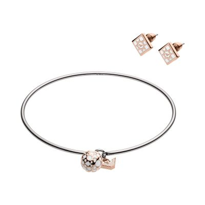 Ladies Emporio Armani Two-Tone Steel and Rose Plate Earring and Bangle Set EGS2486040
