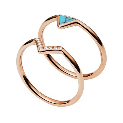 Damen Fossil Triangle Turquoise Fashion Ring Size K Edelstahl JF02645791503