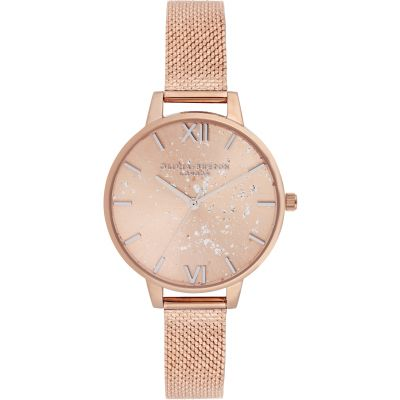 Celestial Rose Gold Sunray, Silver Glitter, Rose Gold Boucle Mesh Watch