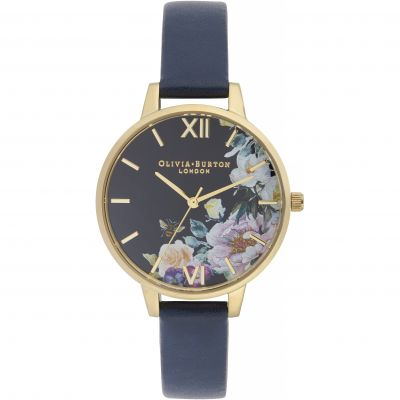 Olivia Burton Enchanted Garden Enchanted Garden Silver & Navy Damenuhr in Marine OB16EG113