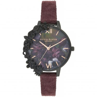 Montre Femme Olivia Burton After Dark Black & Wine Suede OB16AD44