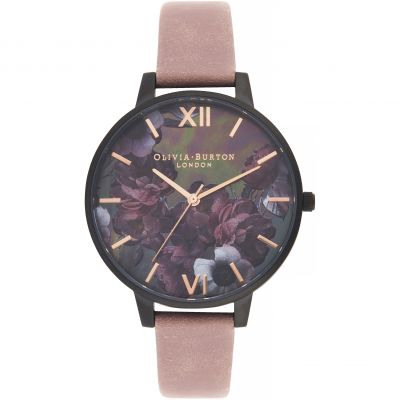 Montre Femme Olivia Burton After Dark Black & Rose Suede OB16AD38