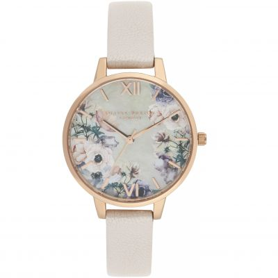 Watercolour Florals Demi Dial Watch With Nude Mother-Of-Pearl Watch