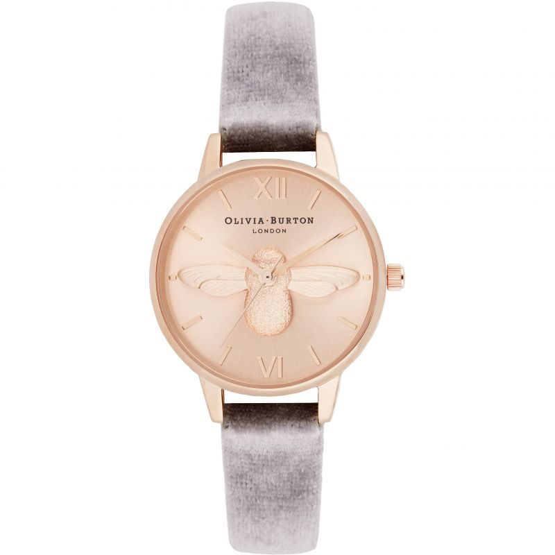 3D Bee Midi Sunray Dial Watch With Velvet Watch