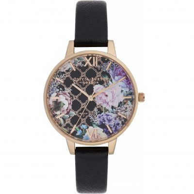 Glasshouse Black & Rose Gold Watch