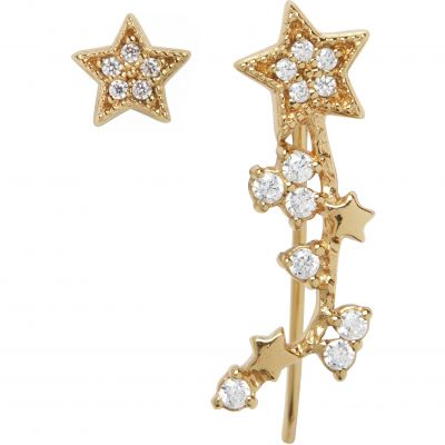 Celestial Star Crawler And Stud Gold Earrings OBJ16CLE01
