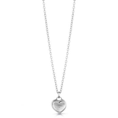 GUESS rhodium plated logo heart pendant necklace.
