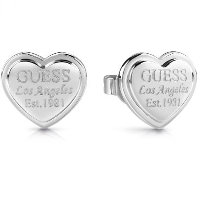 GUESS rhodium plated heart-shaped stud earrings with engraved logo.