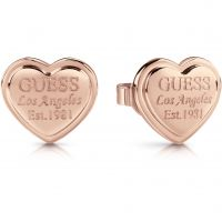 GUESS rose gold plated heart-shaped stud earrings with engraved logo.