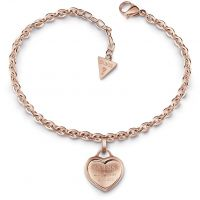 GUESS rose gold pated bracelet with logo heart charm.