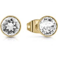 GUESS gold plated studs earrings featuring clear round Swarovski® crystals