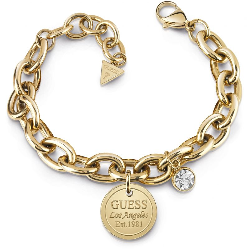 GUESS gold plated chain bracelet with coin charm and Swarovski® crystal.
