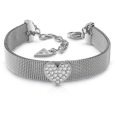 GUESS rhodium plated flat mesh bracelet with Swarovski® crystal pavè heart.