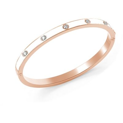 GUESS rose gold plated bracelet with white enamel & Swarovski® crystal surface, presented in a box set.
