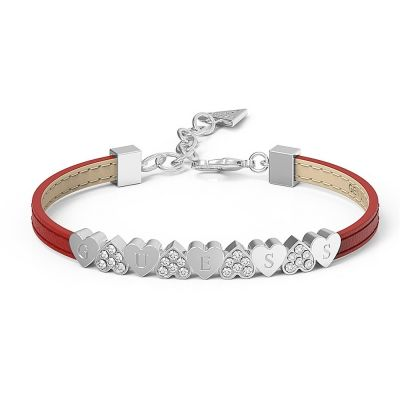 GUESS red leather bracelet with rhodium plated centre bar featuring alternating pavè Swarovski® crystal and plain hearts, presented in a box set.