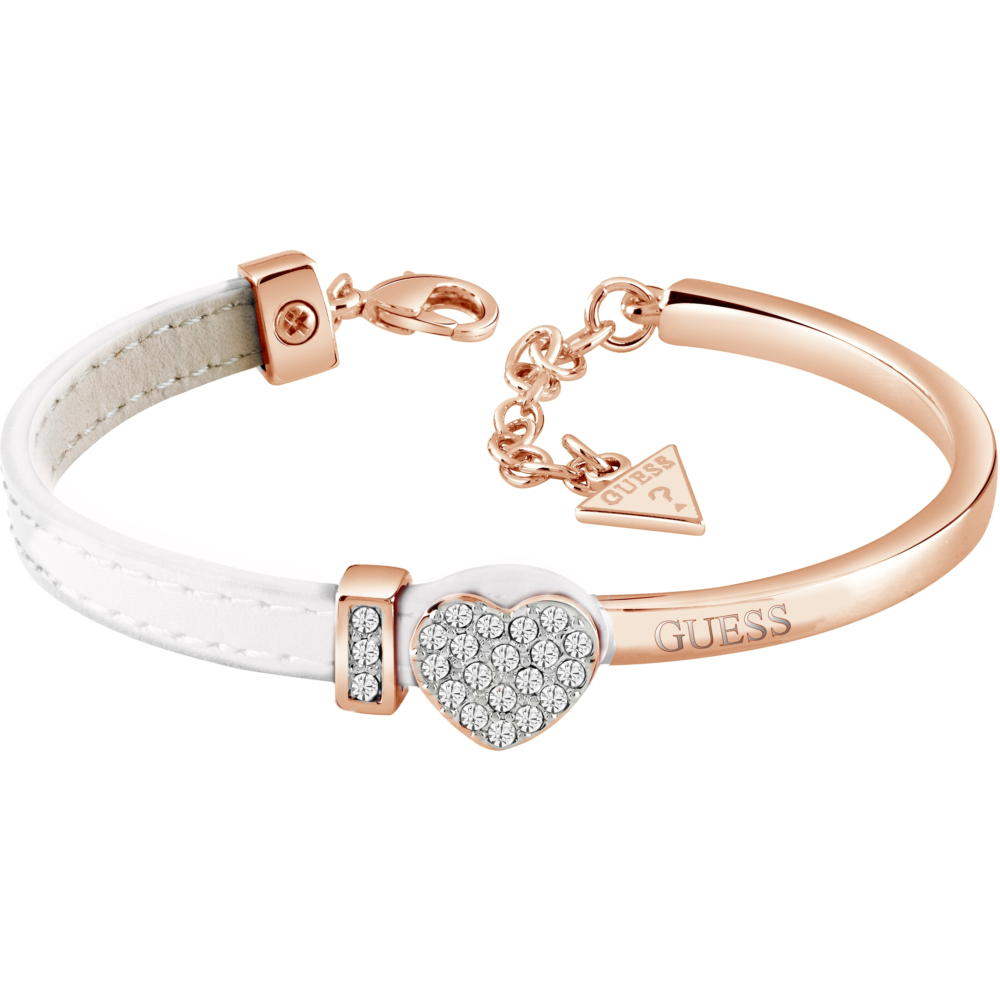 2bfd61b5e GUESS rose gold plated bangle with half white leather Swarovski® crystal  set heart bracelet with GUESS detail, presented in a gift box.