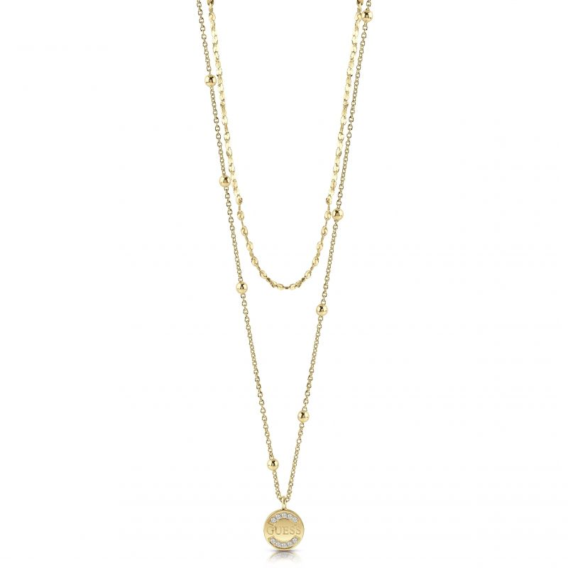 """Image of            GUESS gold plated 16-20"""" double necklace with bead details and logo coin pendant with Swarovski® crystals."""
