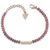 GUESS pink bead bracelet with rose gold plated logo plaque.
