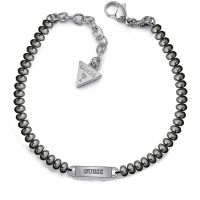 GUESS silver bead bracelet with rhodium plated logo plaque.