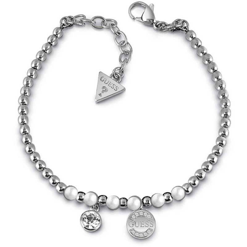 GUESS rhodium plated bead bracelet with white Swarovski® pearls, Swarovski® crystal charm and logo coin charm.
