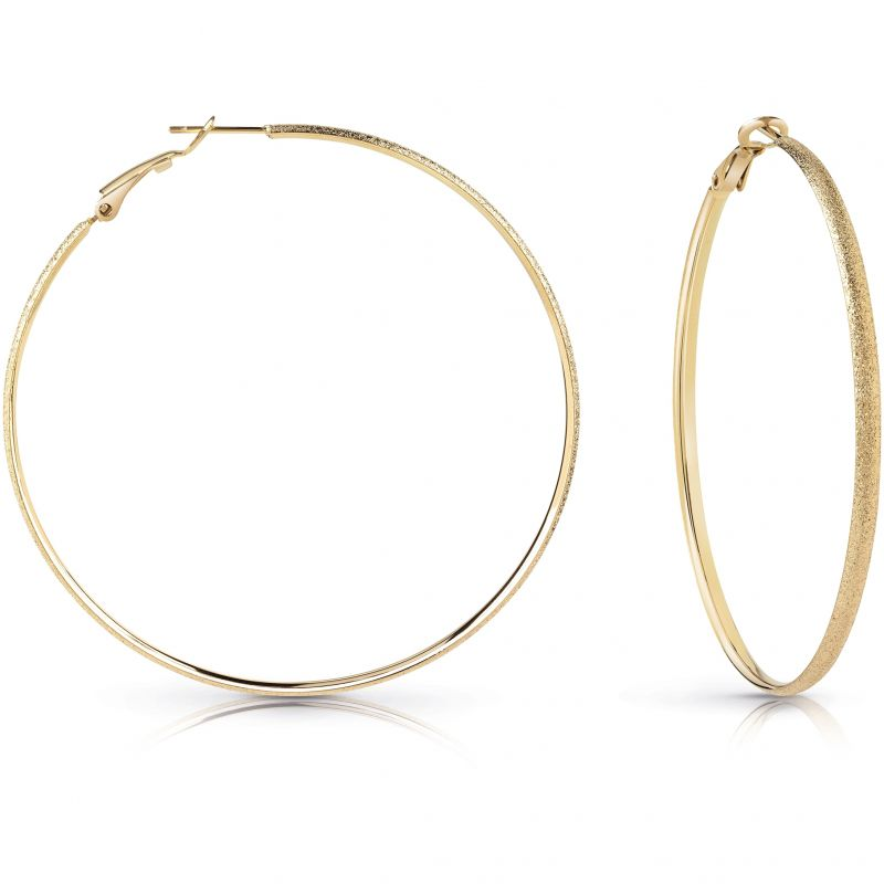 Image of            GUESS gold plated 62mm glitter hoop earrings.