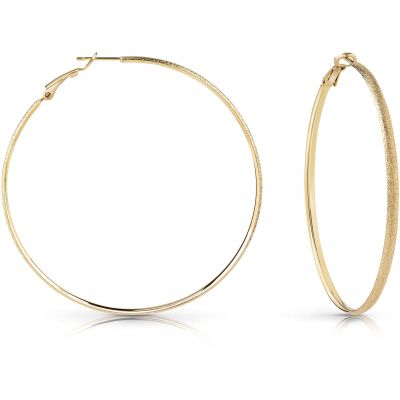 GUESS gold plated 62mm glitter hoop earrings.