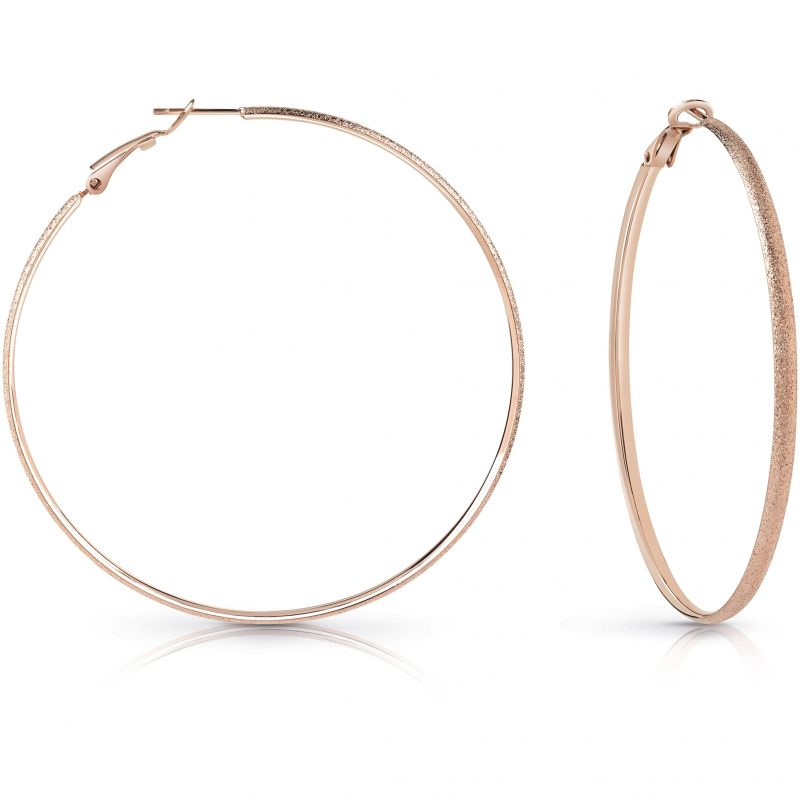 GUESS rose gold plated 62mm glitter hoop earrings.