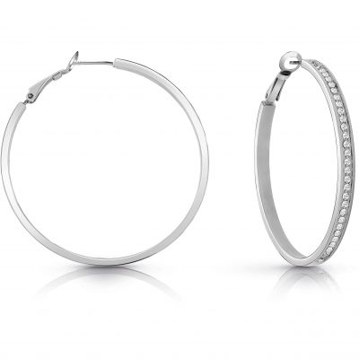 GUESS rhodium plated 50mm front Swarovski® crystal pavè hoop earrings.