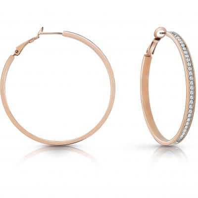 GUESS rose gold plated 50mm front Swarovski® crystal pavè hoop earrings.