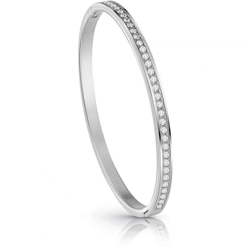 GUESS rhodium plated bangle with Swarovski® crystal pavè setting.