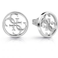 GUESS rhodium plated circular stud earrings with 4G logo.
