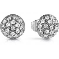 GUESS rhodium plated sphere stud earrings with all-over Swarovski® crystal pavè setting.