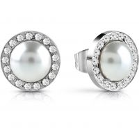 GUESS rhodium plated Swarovski® pearl stud earrings with Swarovski® pavè crystal frame.
