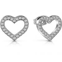 GUESS rhodium plated heart frame stud earrings with Swarovski® crystals.